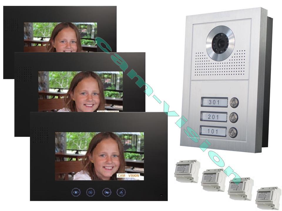 video t rsprechanlage 3 fam haus weitwinkel kamera 105 7 monitore 23mm flach. Black Bedroom Furniture Sets. Home Design Ideas